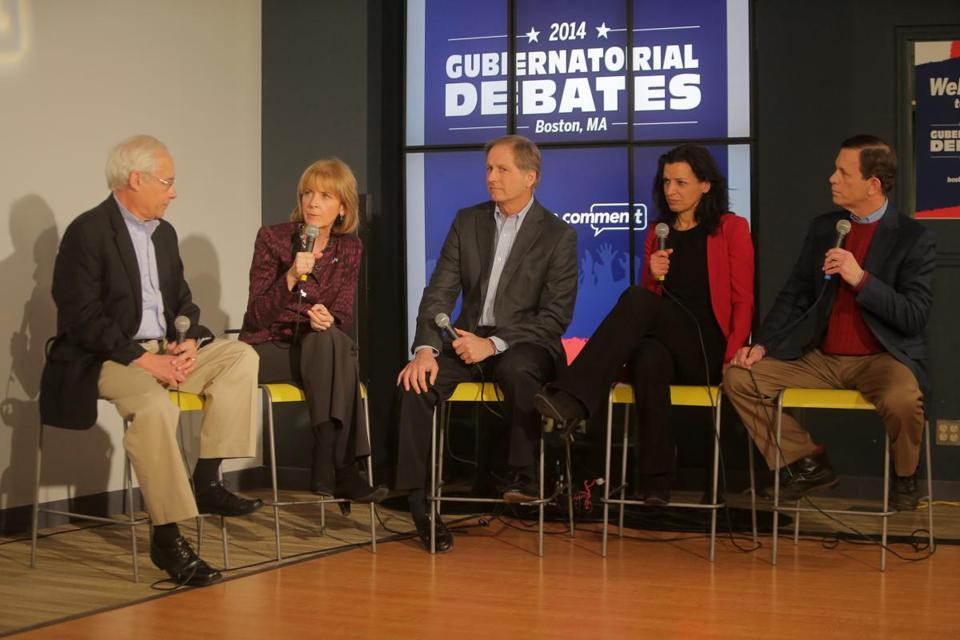 Massachusetts Democratic gubernatorial candidates faced off in recent debate. From left are Donald Berwick, Martha Coakley, Joseph Avellone, Juliette Kayyem, and Steve Grossman.