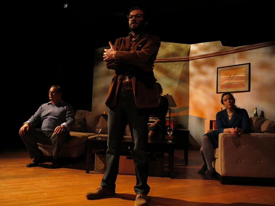 From left: David Anderson, Mauro Canepa, and Becca A. Lewis in the Apollinaire Theatre Company production.