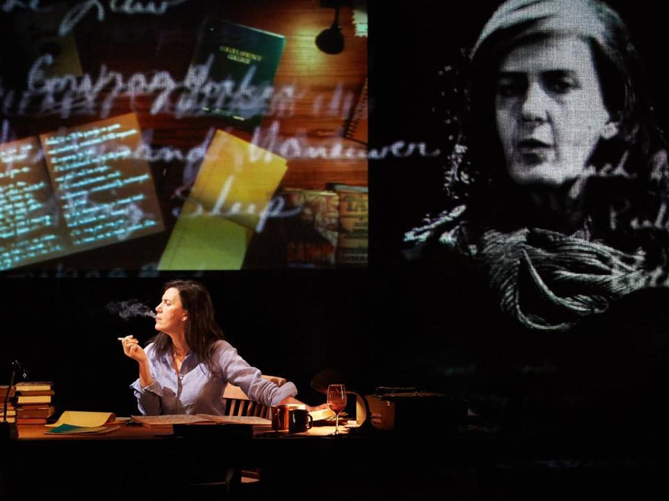 "Moe Angelos stars as Susan Sontag in ""Sontag: Reborn,"" a multimedia one-woman show coming to Boston in May."