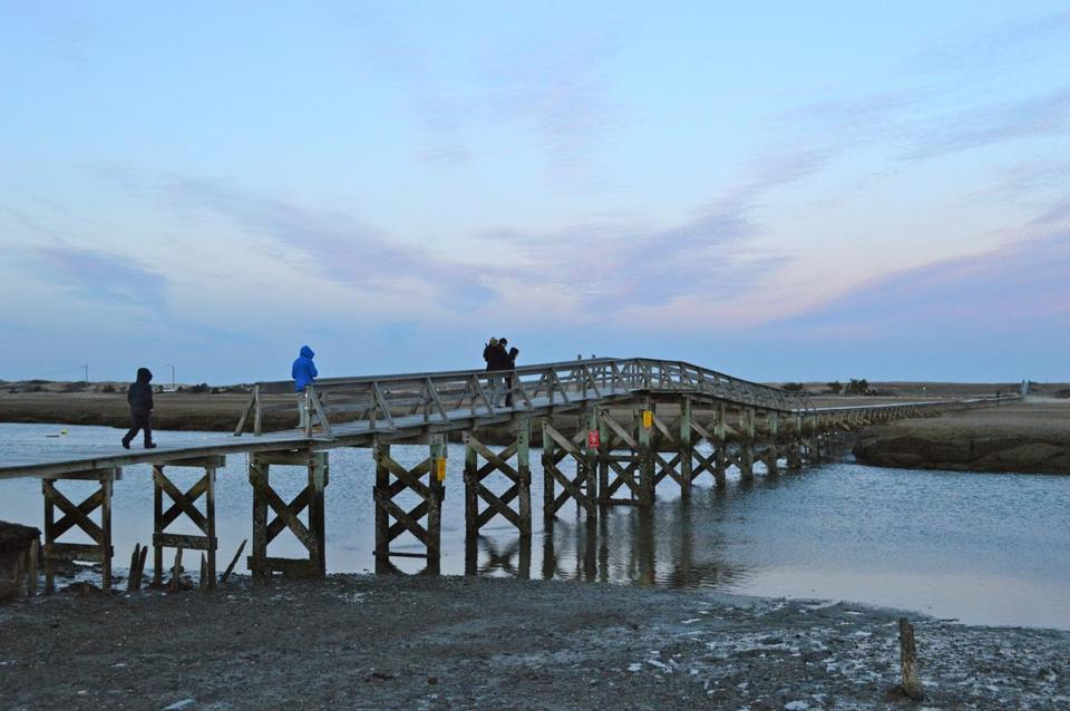 The 1,000-foot-long Sandwich Boardwalk crosses Mill Creek and protected salt marshes to a beautiful beach on Cape Cod Bay.