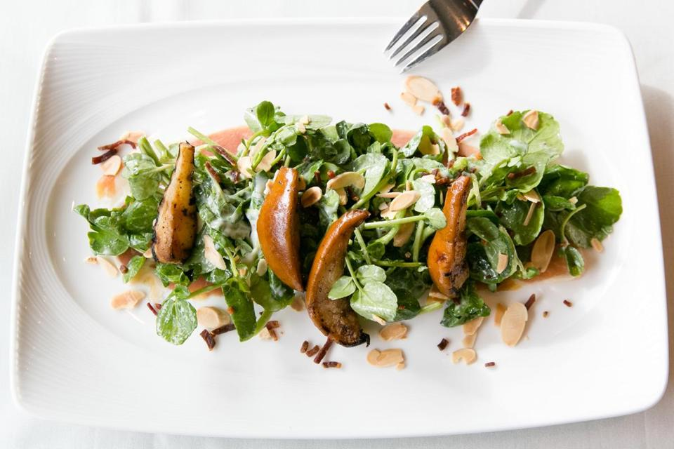 Watercress and grilled-pear salad.