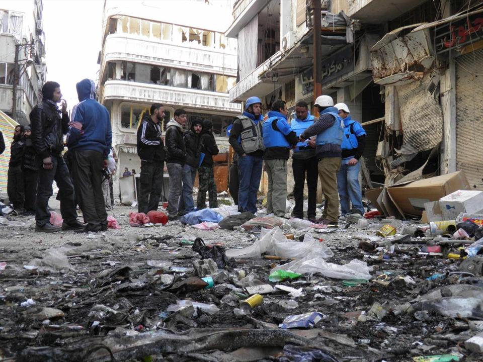 UN officials on Saturday were in Homs, which has been hard hit by the Syrian war, to help supply humanitarian aid.