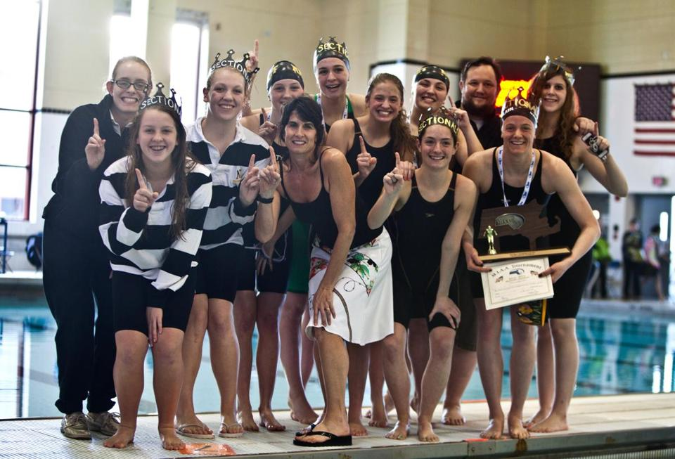 Nauset celebrated after winning the girls central south sectional meet.