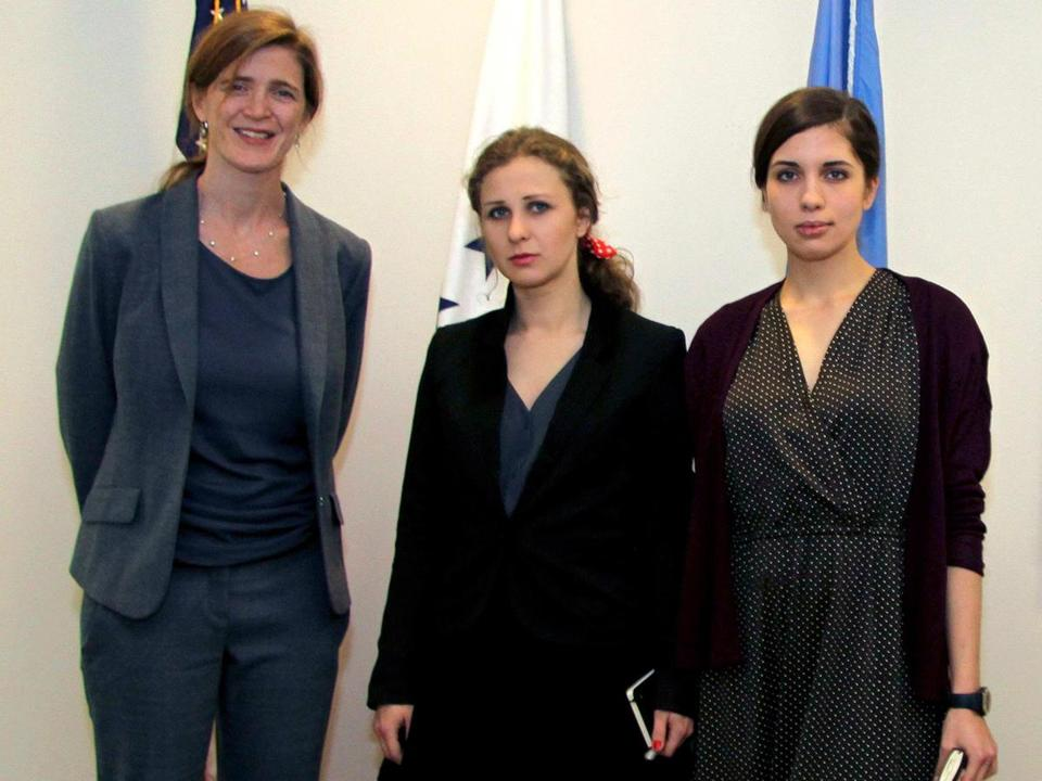 Samantha Power (left) with members of the band Pussy Riot.