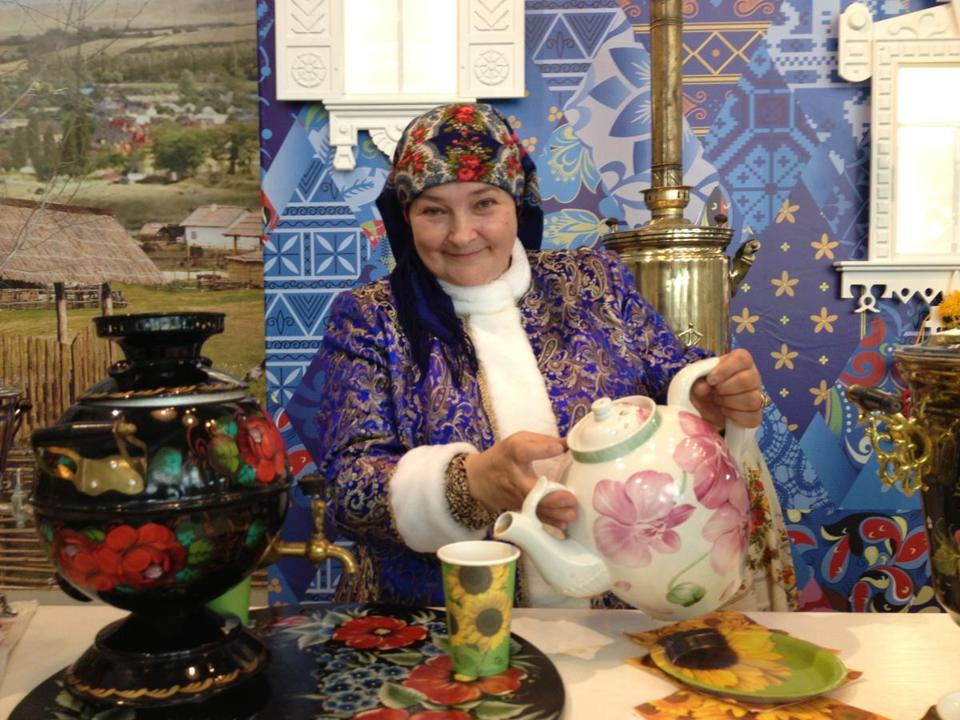 Inside the media center in Sochi is a free tea service sponsored by people of the Kuban region, where there are several tea plantations.
