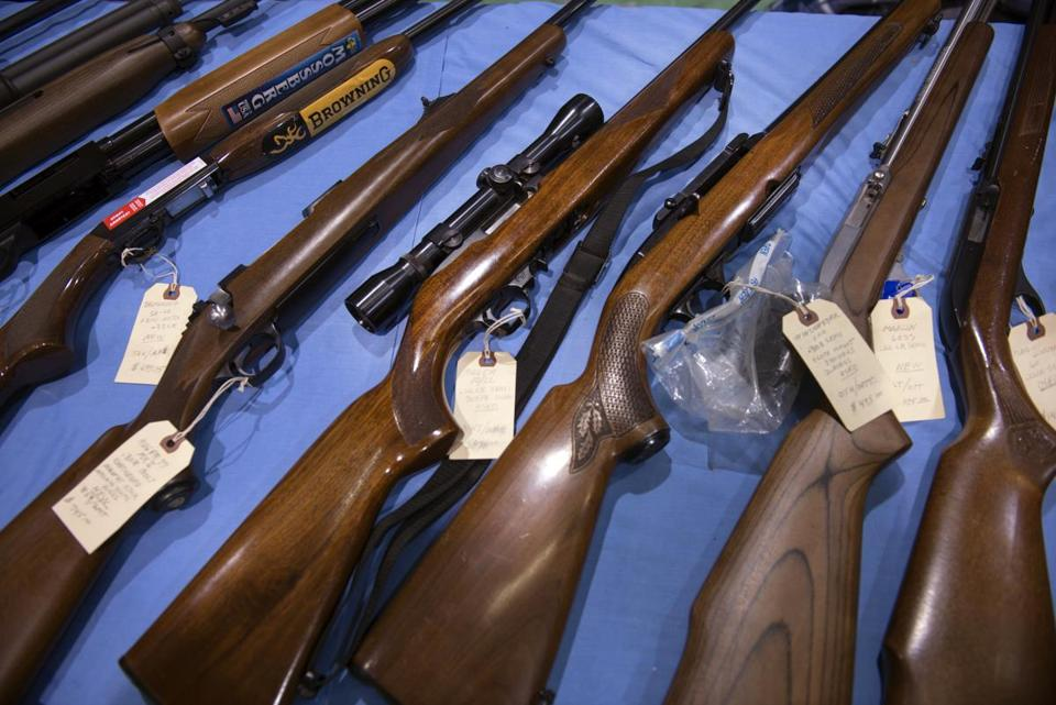 Firearms for sale at a gun show in Barre, Vt., in February.