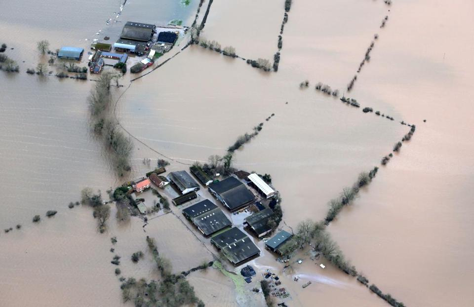 Water covered  thousands of acres of the Somerset Levels, England, Monday. More rain is forecast for later this week.