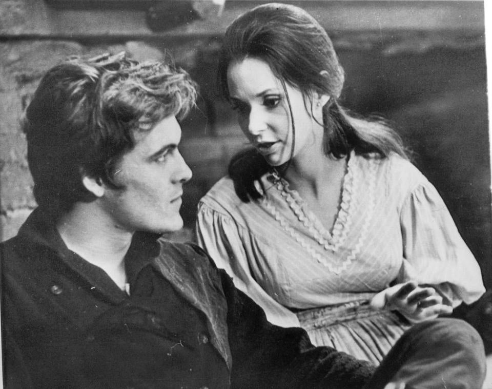 "Mr. Jones is shown with his wife at the time, Susan Strasberg, in a scene from the television series ""The Legend of Jesse James.''"