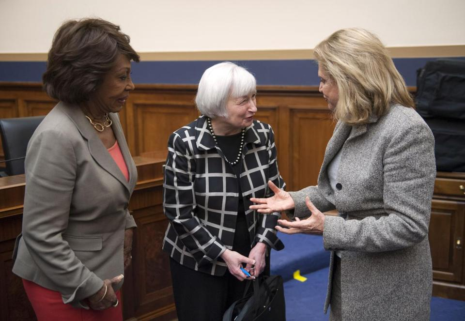 Janet Yellen (center) talked with House Financial Services Committee members Maxine Waters of California (left) and Carolyn Maloney of New York, both Democrats.