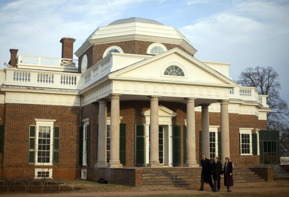 President Obama and French President Francois Hollande toured the grounds of Monticello, the home of famed Francophile Thomas Jefferson.