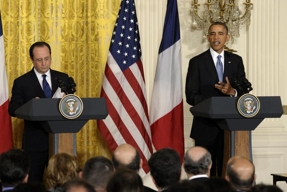 President Obama and French President François Hollande spoke at a joint news conference at the White House on Tuesday.