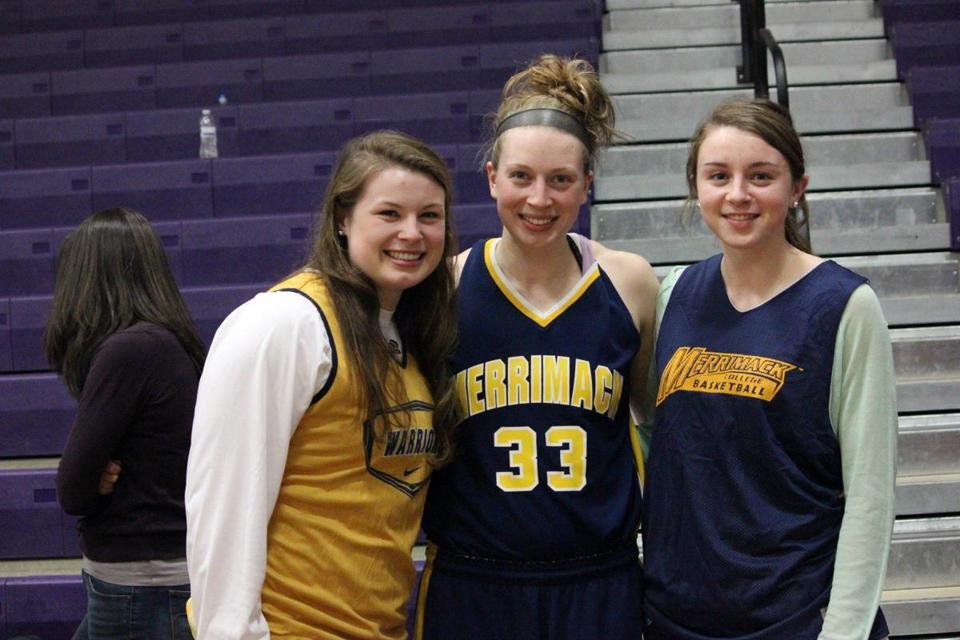 Madelyn, Christine, and Katie Ganser were together for a Holy Cross game in January during Katie's holiday visit.