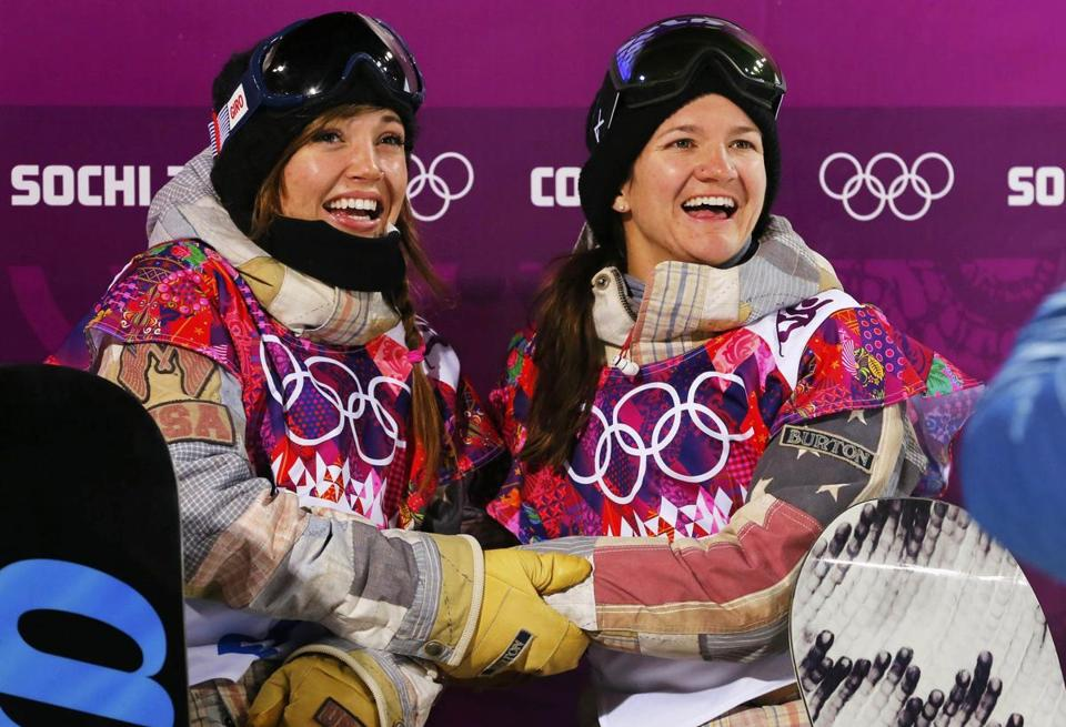 Kaitlyn Farrington, left, and Kelly Clark celebrated their halfpipe medals.