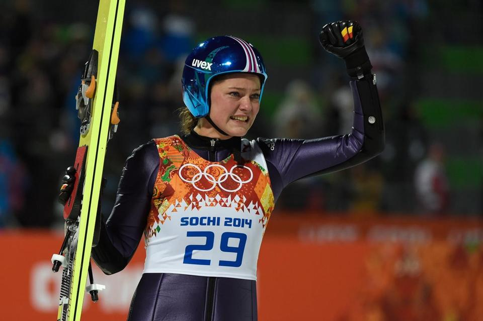 Carina Vogt of Germany won the gold medal in the ladies' normal hill ski jumping.