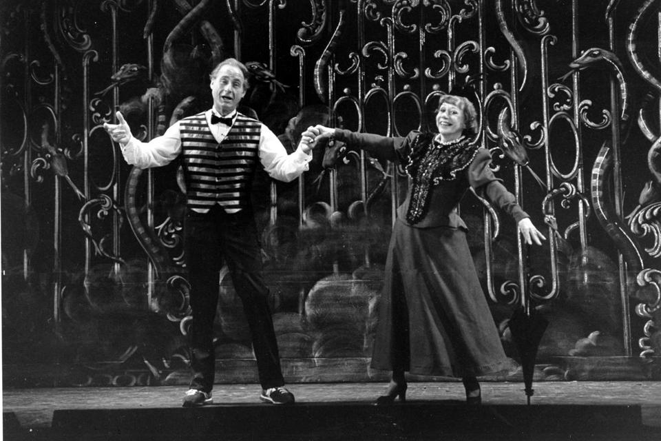"Sid Caesar and Imogene Coca during a rehearsal for the Boston Opera Company's production of ""Orpheus"" in 1982."