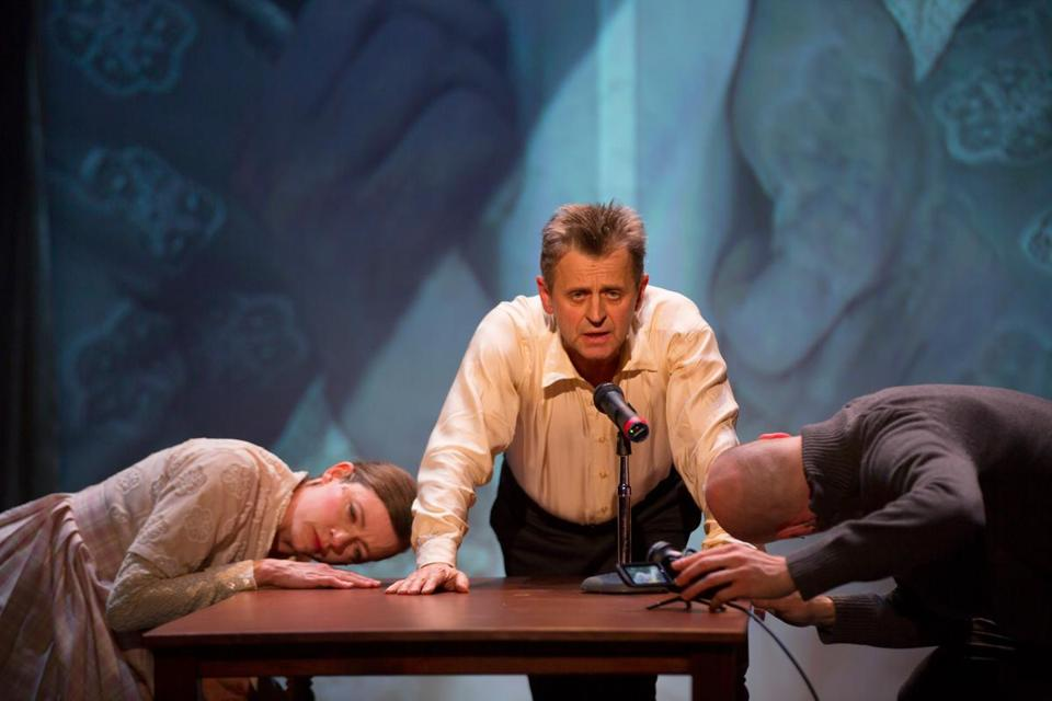 "From left: Tymberly Canale, Mikhail Baryshnikov, and Aaron Mattocks in ""Man in a Case."""