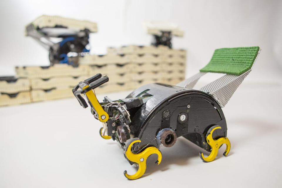 Bio-inspired climbing robots using specialized bricks show how specified structures can be collectively built.