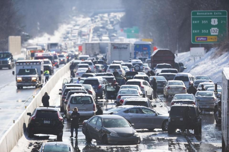 Several tractor-trailers and many cars were involved in a series of accidents that backed up traffic for miles.