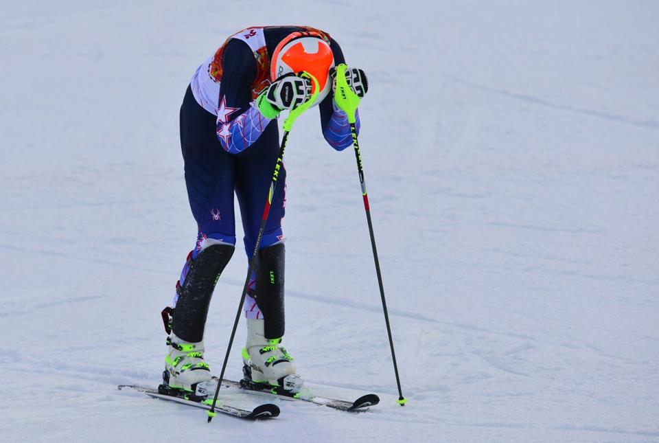 Bode Miller reacted after a run in the super combined.