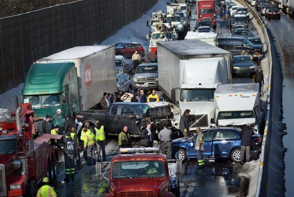At least 30 people were injured in a series of accidents involving tractor-trailers and many cars on the ice-coated roadway outside Philadelphia Friday morning.