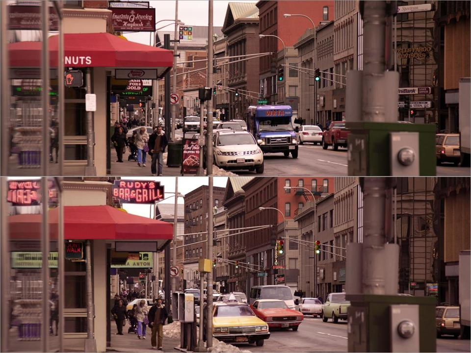 "Boston-based Zero VFX's digital transformation of contemporary footage such as this street scene in Worcester (at top, before, and at bottom, after) to a bygone era helped it land work on the film ""American Hustle."""