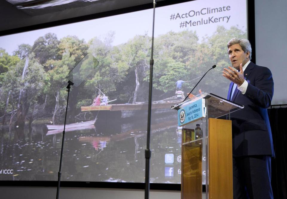 Secretary of State John F. Kerry said Sunday that rising seas could put much of Jakarta, Indonesia's capital, under water and cripple the country's fishing industry.