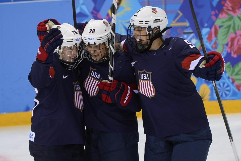 The US women's hockey team plays Sweden in an semi-final game Monday.