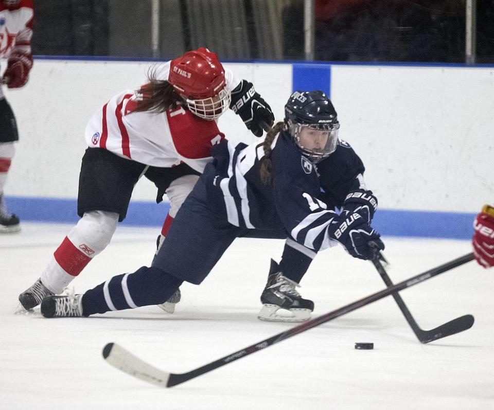 Nobles' Lexie Laing (right) wins this battle for a loose puck with St. Paul's Jenna Rheault during the first period.