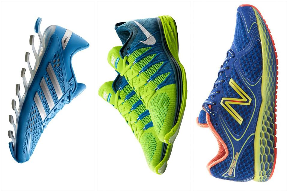 From left to right: The Adidas Springblade Razor; The Nike Flyknit Lunar2; and the New Balance Fresh Foam 980.