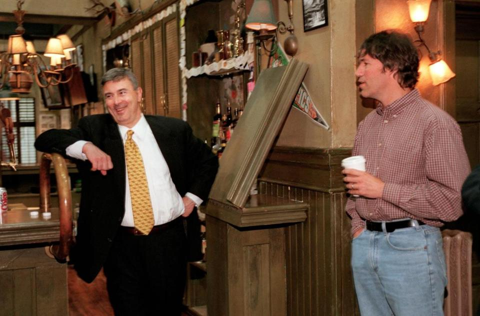 David E. Kelley on a set with Governor Paul Cellucci.