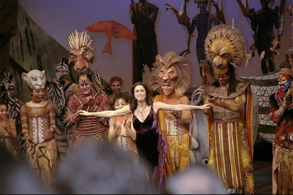 "Julie Taymor takes a bow for ""The Lion King"" in 1997."