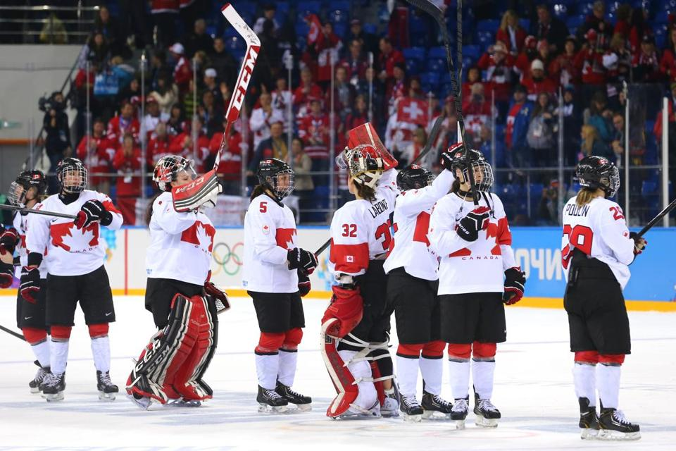 The Canadian women's team is on its way to the gold-medal game after beating Switzerland.