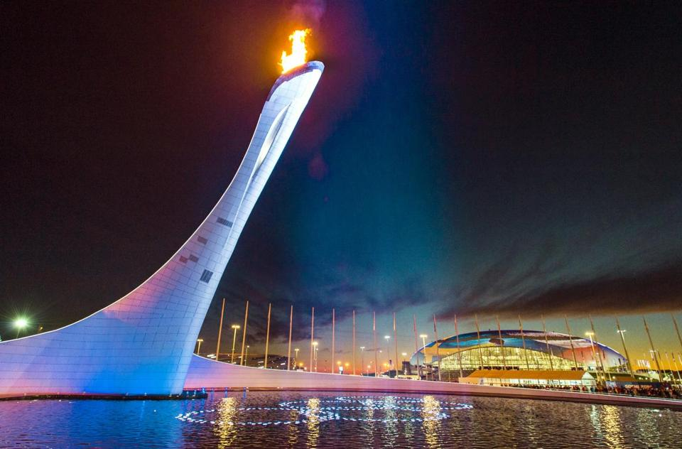 The Olympic Cauldron as seen on the fifth day of the Sochi Games.