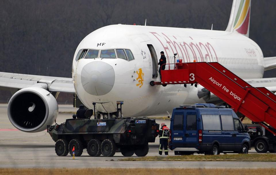 Police stood guard near the hijacked Ethiopian Airlines jet in a Geneva airport Monday.