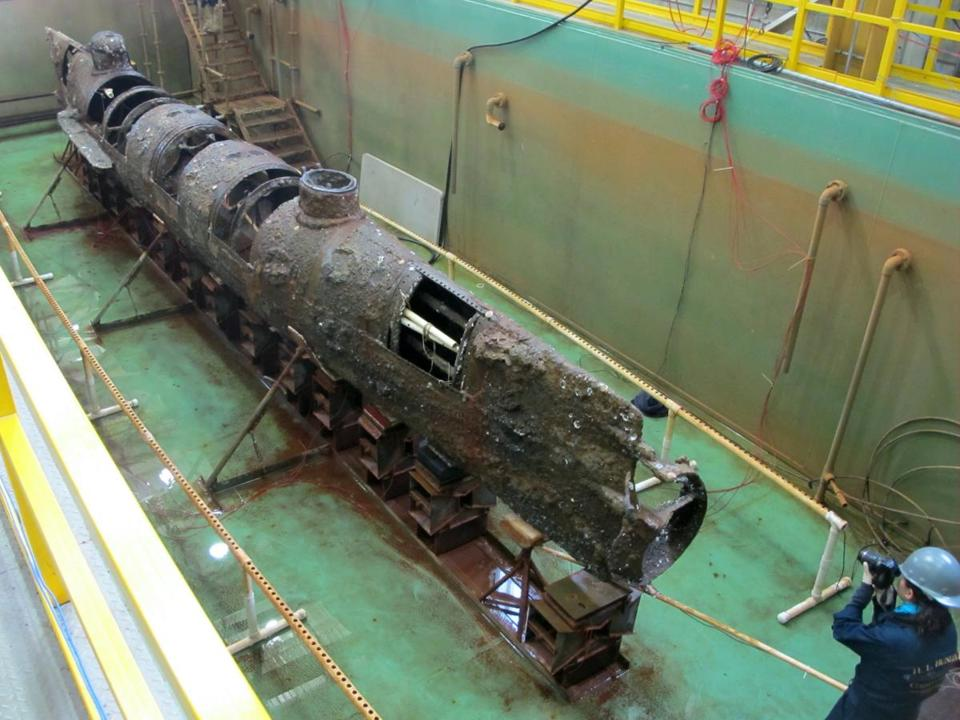 Confederate submarine H.L. Hunley in a conservation tank at a lab in North Charleston, S.C.