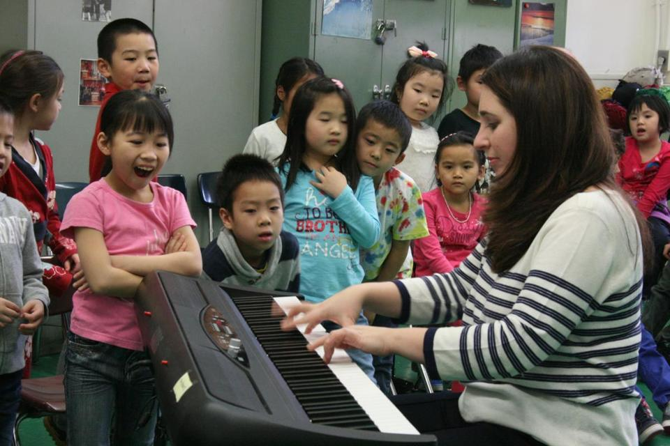 "Pianist Simone Dinnerstein at one of her school ""Bachpacking'' sessions in New York City."