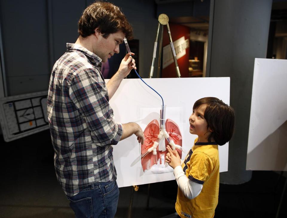 Nikolai Begg helped 8-year-old Donny Azar build a device to remove an object stuck in a model lung.