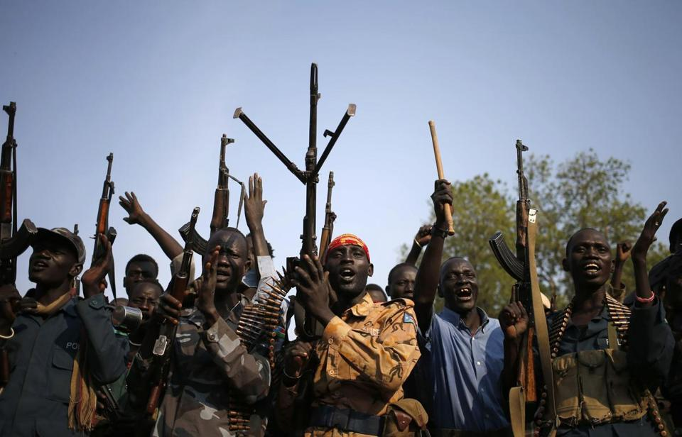 Rebels gathered Feb. 8 in a village in South Sudan's Upper Nile section, where heavy clashes were reported Tuesday.