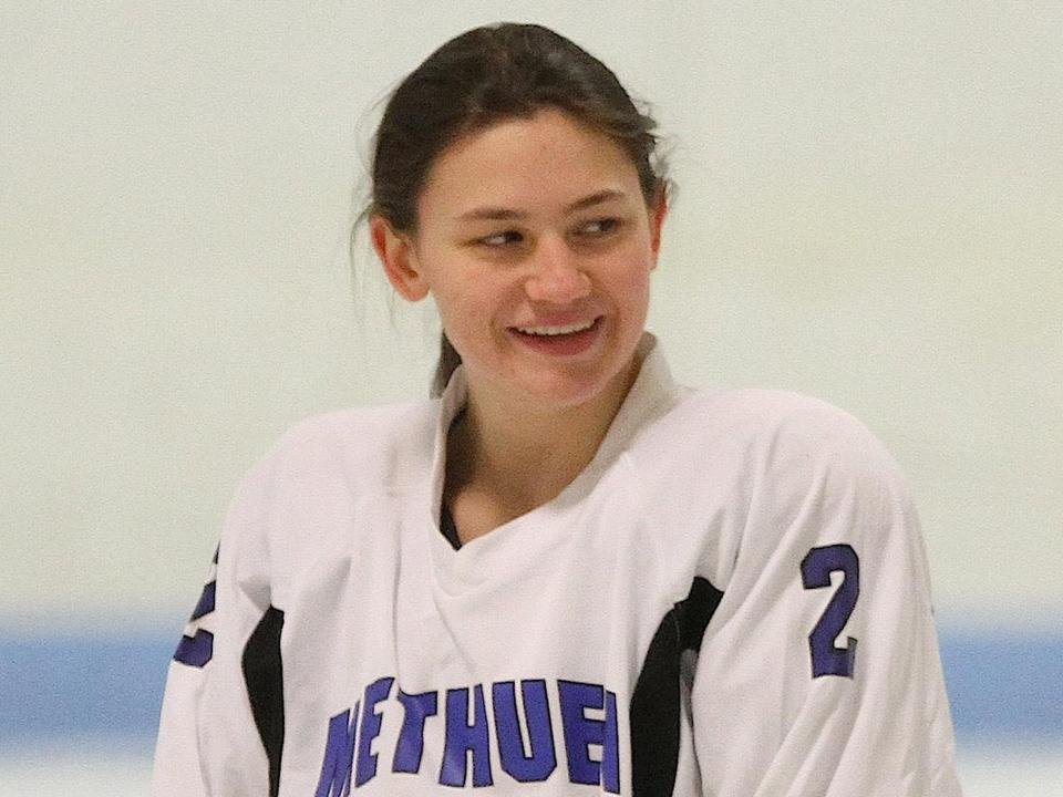 With five goals Wednesday, Tewksbury/Methuen's Amanda Conway set the MIAA single-season mark for goals scored in a girls' hockey season.
