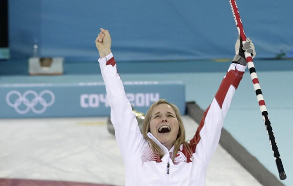 With the gold medal wrapped up, Canada skip Jennifer Jones rejoices. Ints Kalnins/Reuters