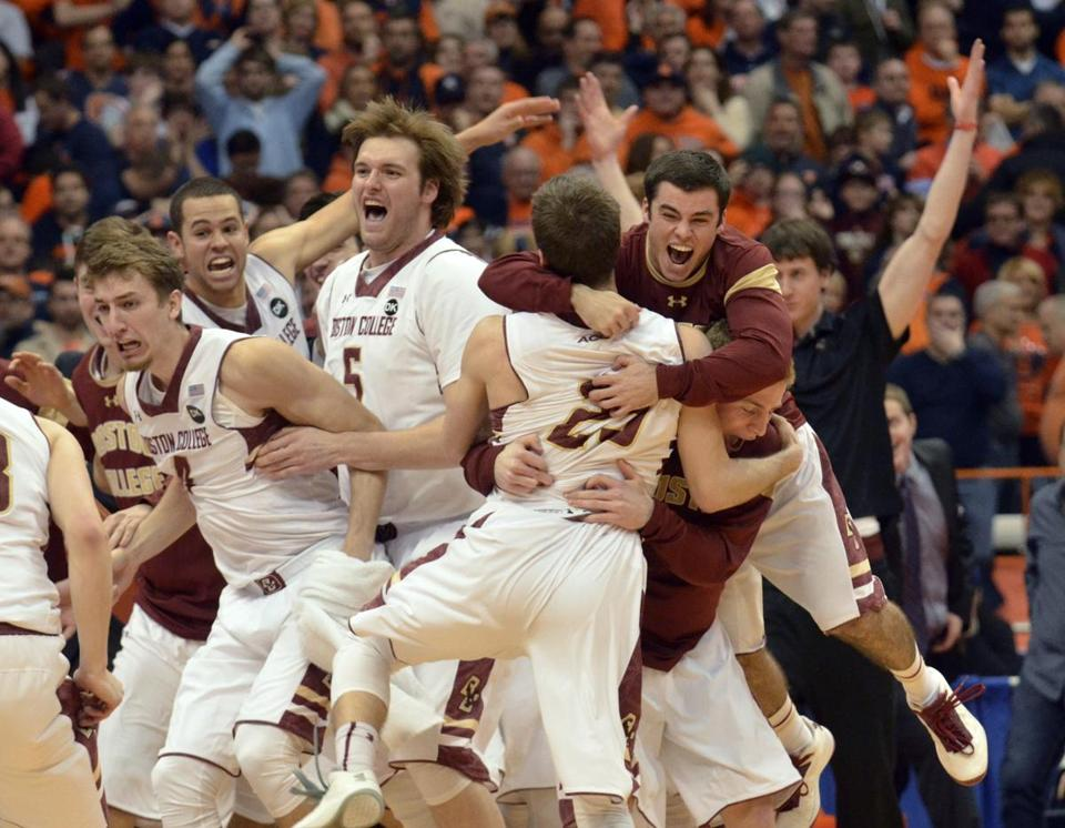 Boston College players celebrated after defeating Syracuse.