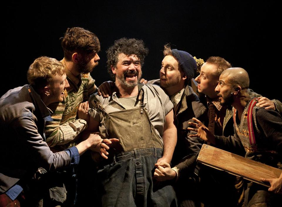 "From left: Fionn Gill, Colin Michael Carmichael, Miltos Yerolemou, David Emmings, Jon Trenchard, and Saikat Ahamed in ""A Midsummer Night's Dream."""