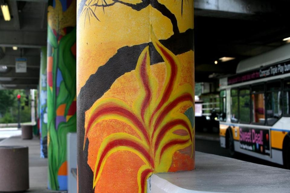 Painted columns brightened the exterior of the Jackson Square MBTA station.