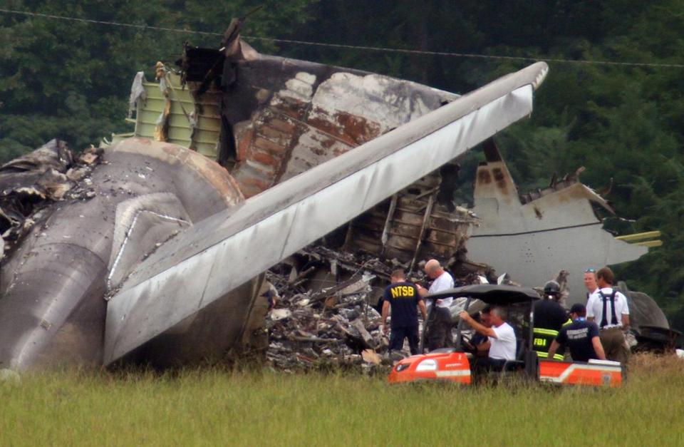 Federal investigators gathered to study the tail section of the UPS cargo plane that crashed in Alabama last summer.