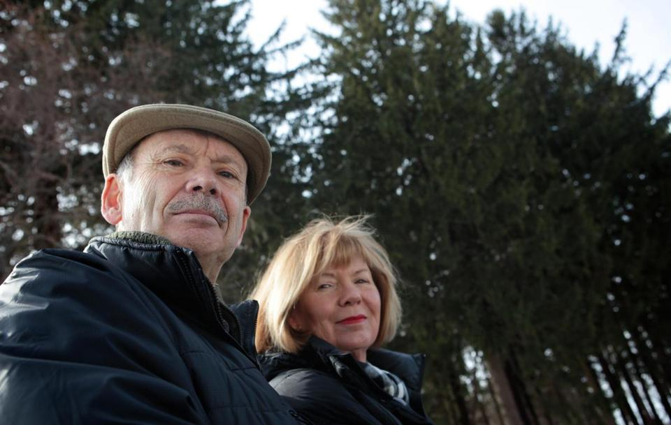 Dennis O'Brien and his wife, Cheryl Dyment, near trees that were to be cut.