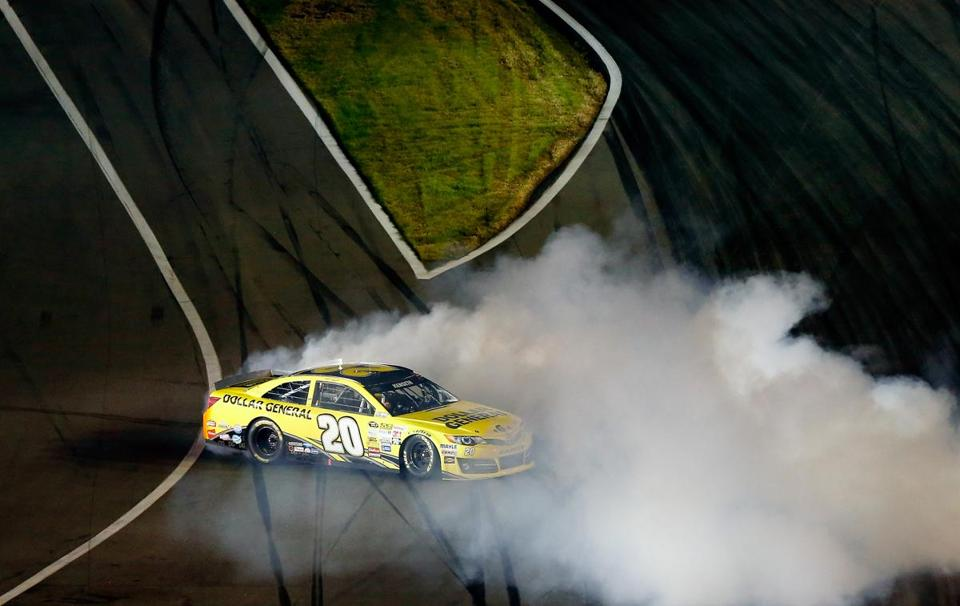 Matt Kenseth celebrated with a burnout after winning one of the Budweiser Duel races at Daytona International Speedway on Thursday.