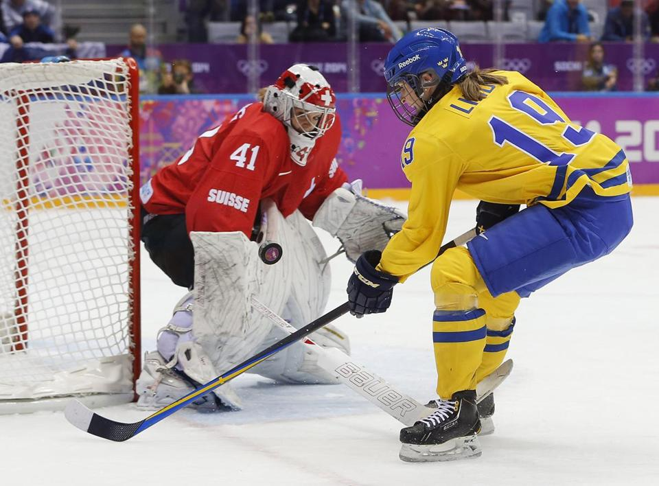 Northeastern's Florence Schelling had 28 saves to lead Switzerland.