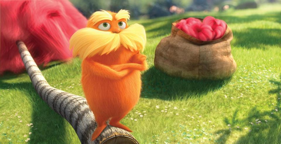 "Lorax, voiced by Danny Devito, is shown in a scene from ""Dr. Seuss' The Lorax."""