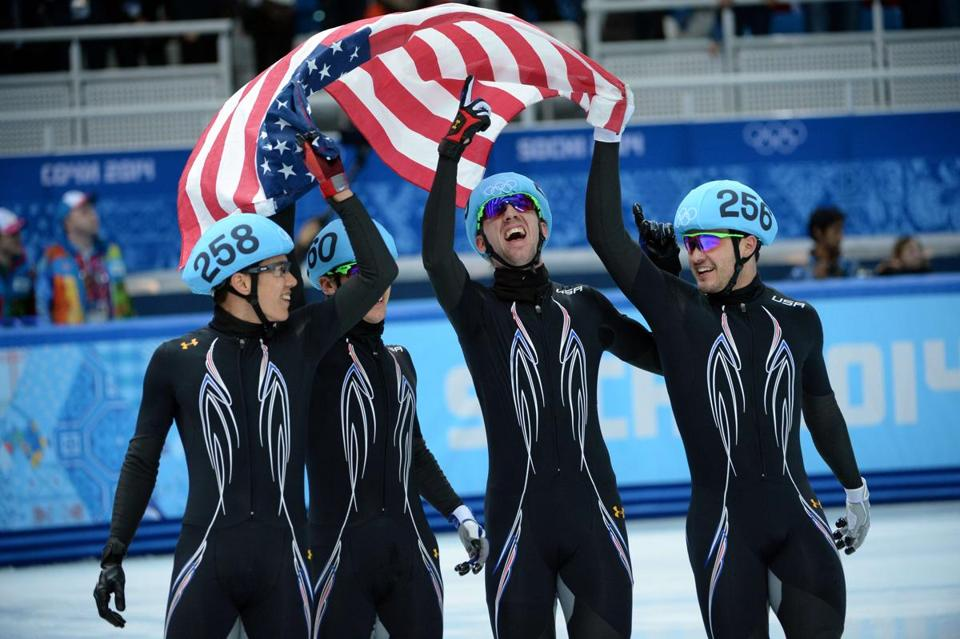 J.R. Celski, (from left), Jordan Malone, Chris Creveling, and Eddy Alvarez were uplifted with a short-track silver.