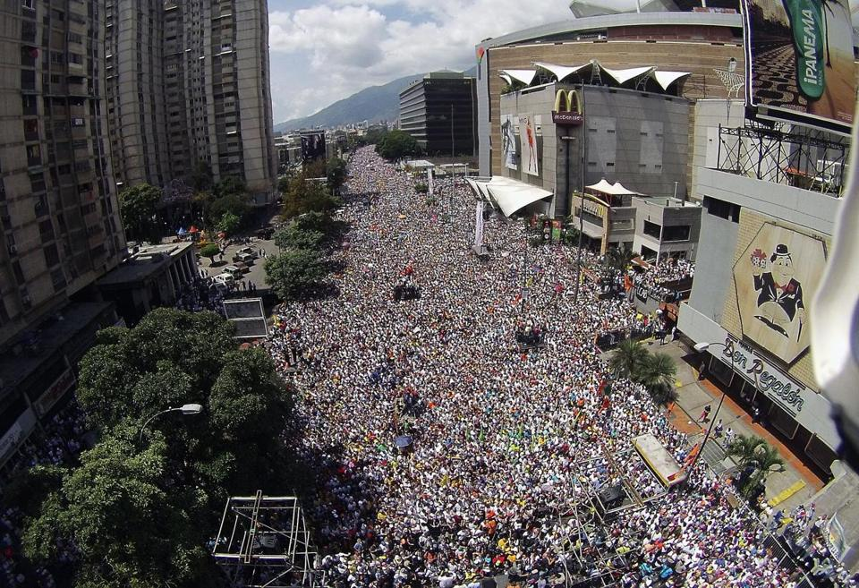 Thousands of people attended a protest against the government of President Nicolás Maduro in Caracas.